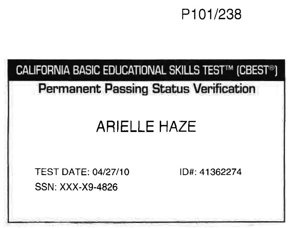 ArielleHaze - CBEST Pass